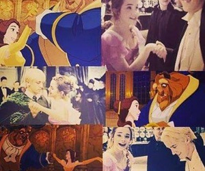 belle and the beast, draco malfoy, and harry potter image