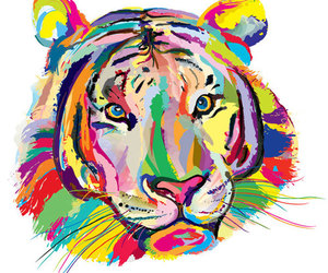 tiger, art, and colorful image