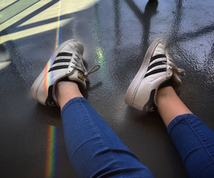 adidas, jeans, and rainbow image