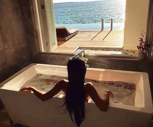 relax, sea, and bath image