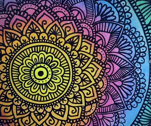 mandala, art, and rainbow image