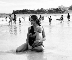 beach, breastfeeding, and mother image