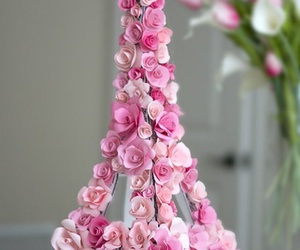 flowers, pink, and eiffel tower image