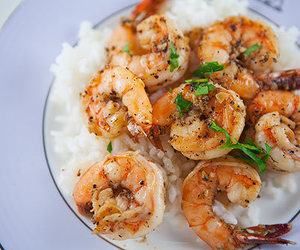 shrimp, food, and rice image