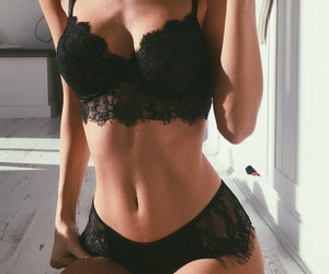 black, lingerie, and look image