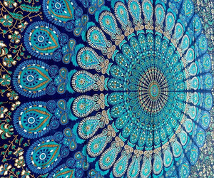 blue, mandala, and tapestry image