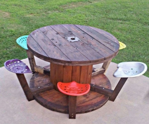 cable spools, cable spool furniture, and cable spool tables image