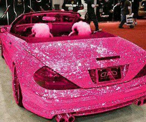 car, girl, and glitter image