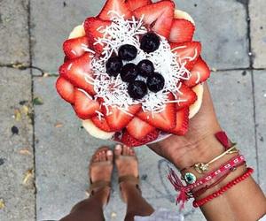 girl, food, and fruit image