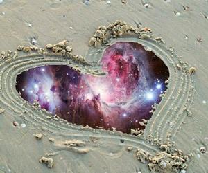 heart, beach, and galaxy image