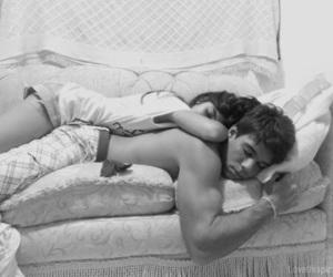 back and white, girl, and sleeping image