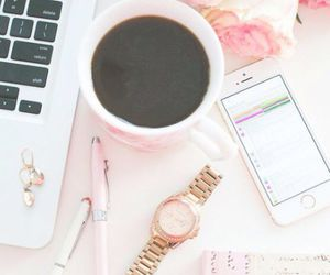pink, coffee, and iphone image