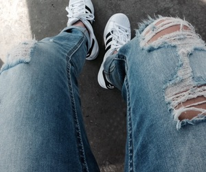 adidas, summer, and ripped jeans image