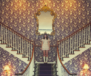girl, vintage, and stairs image