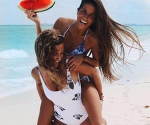 girl, beach, and watermelon image