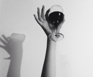 wine, b&w, and drink image