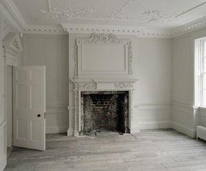 door, empty, and fireplace image