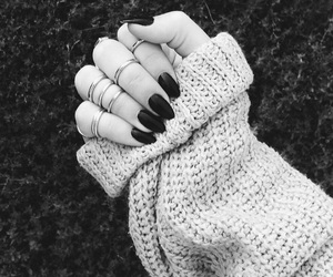 nails, black and white, and black image