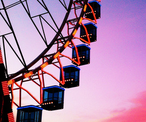 sky, pink, and ferris wheel image