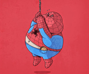 funny, spiderman, and fat image