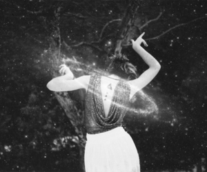 black and white, galaxy, and magic image