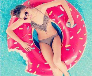 summer, donuts, and bikini image
