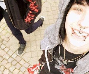 Piercings, scene boy, and smile image