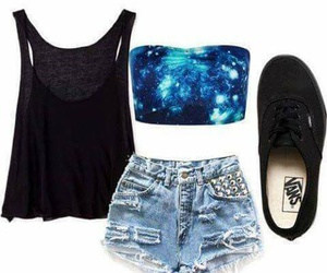 outfit, vans, and galaxy image
