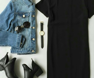 black watches, black circle sunglasses, and black ankle booties image