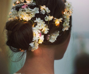hair, flowers, and light image