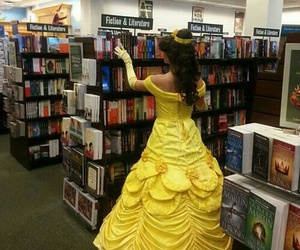 book, belle, and disney image
