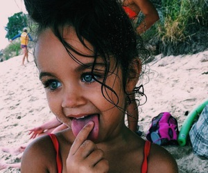 baby, eyes, and beach image