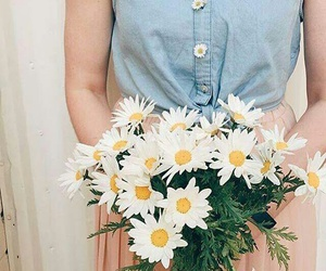 bouquet, flowers, and girl image