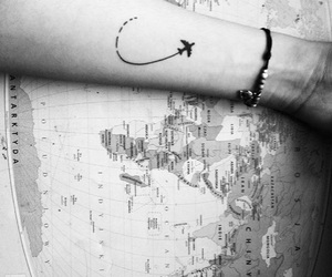 black, tattoo, and map image
