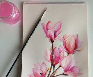 flowers, art, and pink image