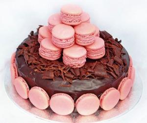 cake, chocolate, and macarons image