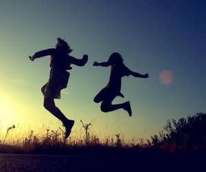 jump, friends, and happiness image