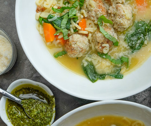 Chicken, soup, and meatballs image