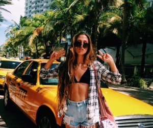 girl, summer, and taxi image