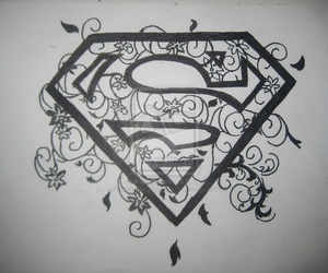 superman, black, and draw image