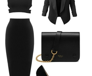 black, outfit, and heels image
