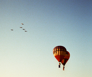 air, balloon, and bird image