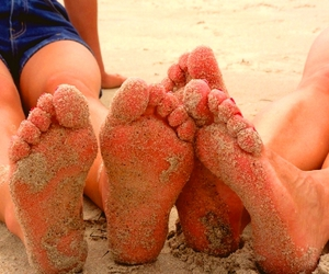 feet, cute, and sand image