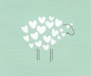 sheep, heart, and wallpaper image