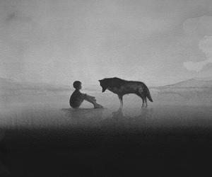 wolf, boy, and art image