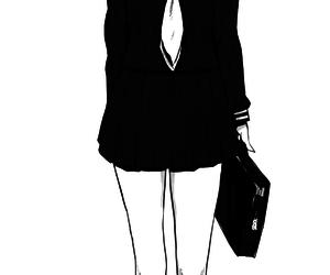 anime girl, fan art, and monochrome image