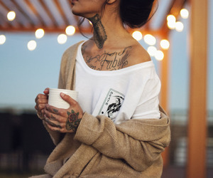 girl, tattoo, and coffee image