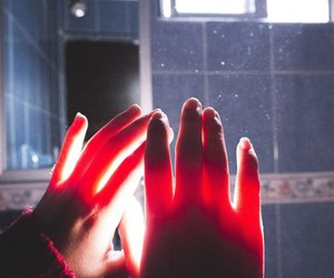 girl, hands, and light image