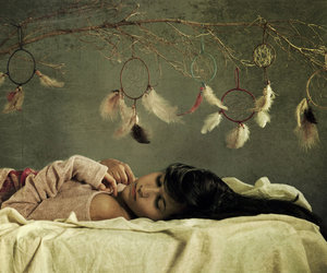 bed, girl, and conceptual image