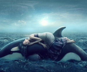 orca girl ocean art image
